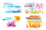 Abstract vector watercolor textures representing seasons of year