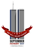 Patriot Day design. September 11 attacks, 911. Twin Towers of the World Trade Center. Vector illustration - 119024439