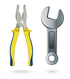 Pliers and a wrench isolated on white background. Realistically painted tools. Vector illustration