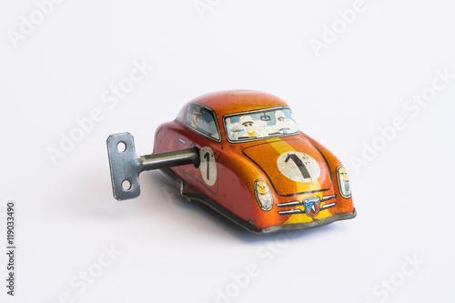 Zdjęcia Clockwork toy car on white background