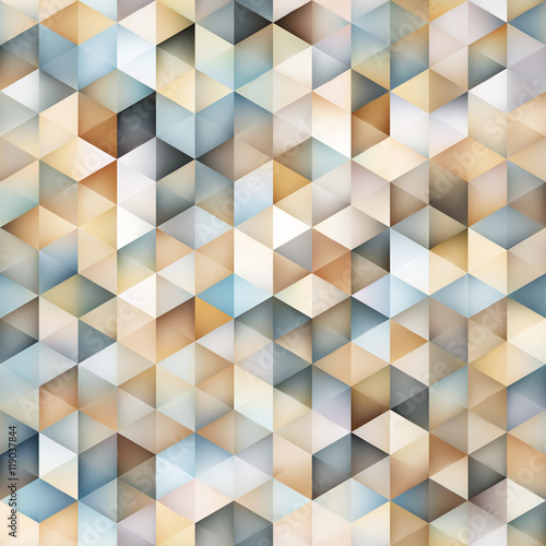 Vector Seamless Multicolor Gradient Triangle Shape Grid Geometric Pattern - 119037844