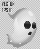 Transparent ghost on checked background. Halloween vector illustration. Grey vector ghost with surprised emotion. Easy to use holiday illustration in EPS 10 file.