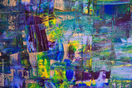 Abstract art background. Oil painting on canvas. Multicolored bright texture. Fragment of artwork. Spots of oil paint. Brushstrokes of paint. Modern art. Contemporary art. © denys_kuvaiev
