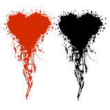 Vector hand drawn heart. Artistic creative black and red graphic illustration with inc splash, blots and smudge isolated on the white background.