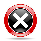 cancel red and black web glossy round icon