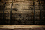 Fototapety background of barrel and worn old table of wood