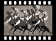 Quartet of singers in barbershop genre singing and dancing in an old movie frame, EPS 8 vector illustration, no transparencies