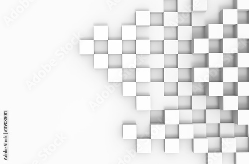 Fototapeta Abstract 3d architecture background with white cubes
