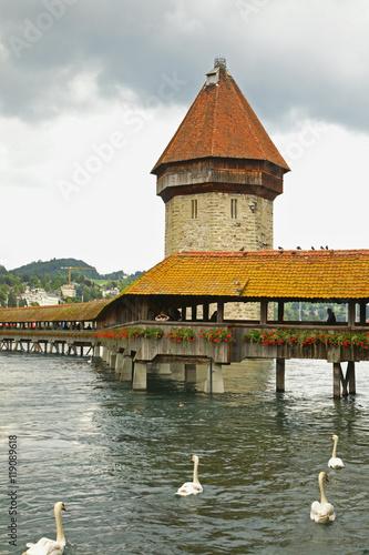 Kapellbrucke - Chapel Bridge over Reussin in Lucerne. Switzerland Poster