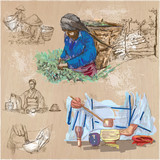 Tea Processing. Agriculture. An hand drawn vector illustration. - 119092680