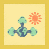 flat shading style icon earth greenhouse effect