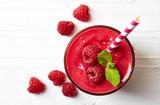 Glass of raspberry smoothie