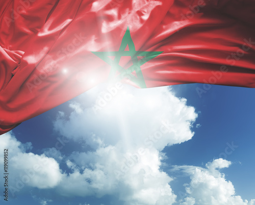 Foto op Canvas Marokko Morocco flag on a beautiful day