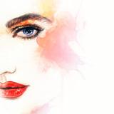 Beautiful woman face. Abstract fashion watercolor illustration - 119111863