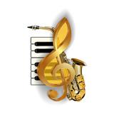 treble clef on the background saxophone piano keys