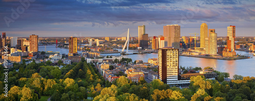 Foto op Plexiglas Rotterdam Rotterdam Panorama. Panoramic image of Rotterdam, Netherlands during summer sunset.