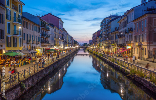 Fotobehang Milan Naviglio Grande canal in the evening, Milan, Italy