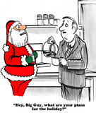 Christmas cartoon about an oblivious coworker talking with Santa Claus.