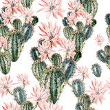 Watercolor pattern with cactus .  - 119136637