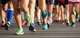 Fototapety Marathon running race, people feet on city road