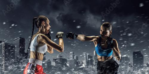 Staande foto Girls boxing outdoor . Mixed media