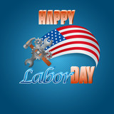 Holidays background with hammer, wrench and 3d gears on national colors for American, Labor Day, event  celebration
