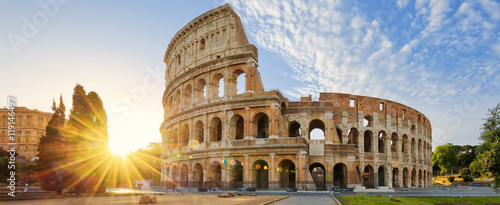 Tuinposter Rome Colosseum in Rome and morning sun, Italy