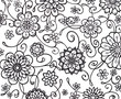 black and white flower marker art with fancy curls curves and swirls. floral wallpaper pattern with abstract hand drawn flowers in random doodle. - 119154822