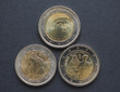 Постер, плакат: EUR coins with Italian writers in Florence
