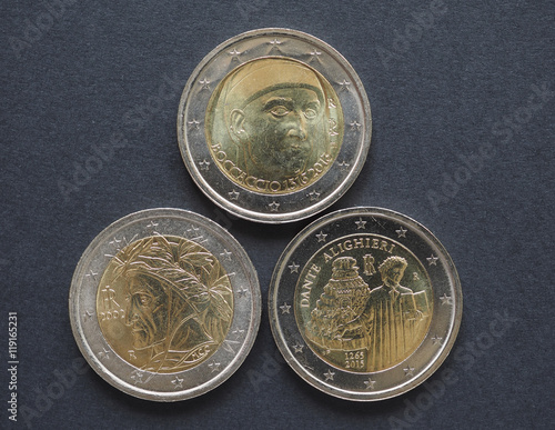 Постер, плакат: EUR coins with Italian writers in Florence, холст на подрамнике