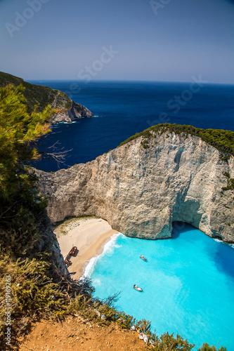 Amazing Navagio beach (shipwreck beach) on Zakynthos. Ionian island in Greece © harley_