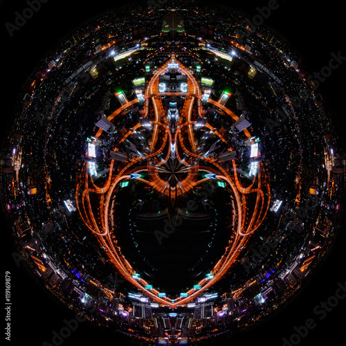 Foto op Aluminium Nacht snelweg Globe-shaped Bangkok