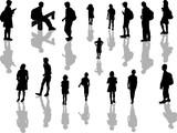 schoolchildren silhouettes isolated on white background