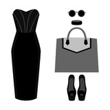 Set of trendy womens clothes with dress and accessories