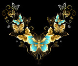 Symmetrical pattern of golden butterflies
