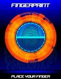 Fingerprint scanning orange background, identification system