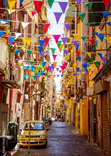 Staande foto Napels Narrow street in old town of Naples city in Italy