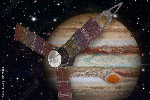 Plexiglas Juno spacecraft and Jupiter. Elements of this image furnished by NASA.