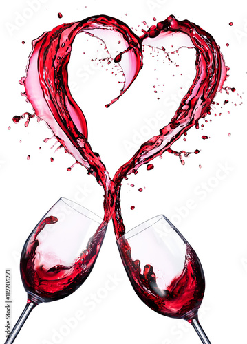Romantic Toast Of Wine Red In Splashing In A Heart Shape