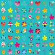 cute hearts birds flowers mushrooms nature pattern