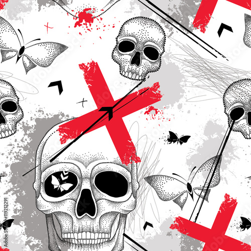Tuinposter Vlinders in Grunge Vector seamless pattern with dotted skull, lines, red crosses, butterflies and blots in red and black on the white background. Abstract background in creative Trash Polka and dotwork style.