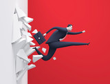 Breakthrough. Businessman breaking through a wall. Rendered business illustration