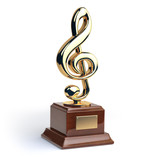 Gold treble clef s trophy isolated on white. Music rating award