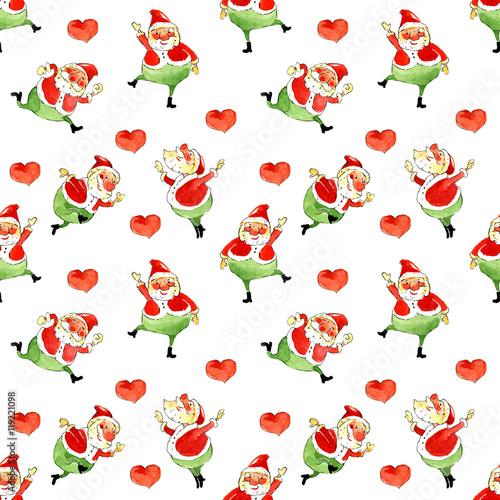 Materiał do szycia Santa Claus, Boże Narodzenie, akwarela, bezszwowe wzór