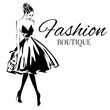 Detaily fotografie Fashion boutique logo with black and white woman silhouette vector