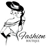 Fashion boutique logo with black and white woman silhouette vector