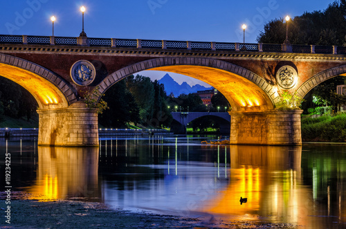Poster Turin (Torino) beautiful scenery at twilight with river Po, Ponte Isabella and M