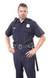 Uniformed police officer on white background - 119237064