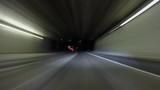 Night driving car mount time lapse through the 210 freeway tunnels in Pasadena, California.