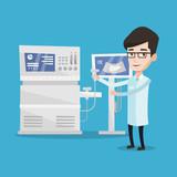 Male ultrasound doctor vector illustration.